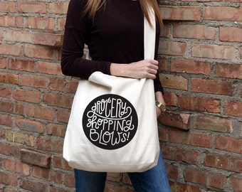 Grocery Shopping Blows Crossbody Tote Bag