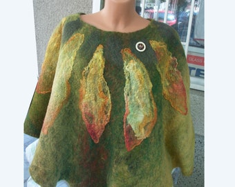 Felted wool poncho in green Merino wool poncho Big scarf Summer wear Boho wrap Wool capelet Womens cape from Wet felted wool Gift for her