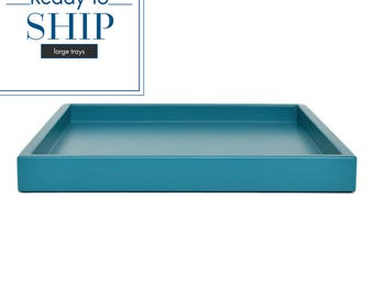 Coffee Table Trays, Large Ottoman Tray, Coffee Table Decor, Lacquer Tray, Large Shallow Tray, Teal Decor, Home Decor