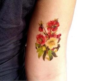 Ellebori rossi e bianchi tatuaggio temporaneo medio / tatuaggio illustrazione floreale / fiori vintage tatuaggio / tatuaggio da braccio
