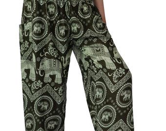 Boho pants/Hippies pants /Harem pants Elephant pants / one size fits OliveGreen