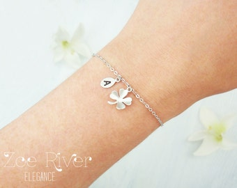 Choose silver or gold dainty clover bracelet. Dainty lucky 4 leaf clover bracelet