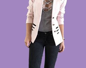 Easter Pink Blazer/ Pink Jacket/ Light Pink Blazer/ Vintage Pink Blazer/ Kasper Designer Jacket/ Pink and Black Blazer/ Trendy Blazer/ Pink