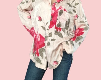 Pink Rose Silky Blouse/ Pink Floral Blouse/ Silk Blouse/ Roses/ Pink Rose Blouse/ Vintage Rose Blouse/ Rose Pattern Top/ Pink Silky Blouse