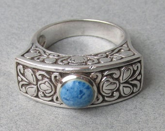Lacy Balinese Sterling Silver & Lapis Lazuli Vintage Ring, Size 9