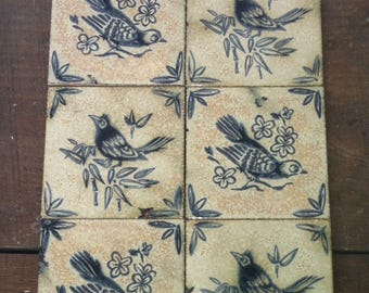 6 French bluebird delft tiles patio garden ceramic art plaque tile set Vintage European decorative curated paired unframed collection