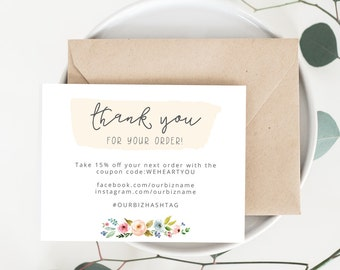 INSTANT Business Thank You Cards, Editable PDF Printable Packaging Inserts  For Online Shop, Etsy  Business Thank You Card Template