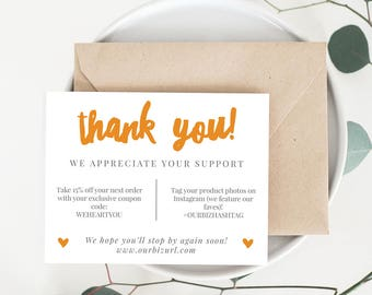 INSTANT Business Thank You Cards, Editable PDF Printable Packaging Inserts for Online Shops, Etsy Sellers | Orange Brand, Adelie | Download