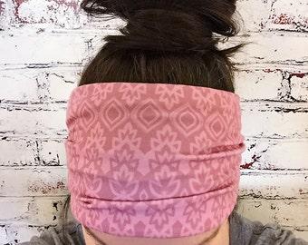 Extra Wide Yoga Headband - Moroccan - Pink -  Eco Friendly