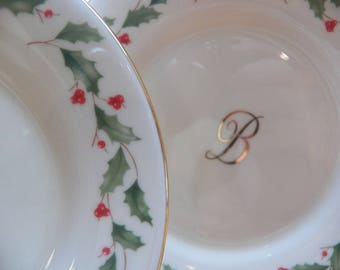 "LENOX Dimension Collection~Holiday Lot 4 Plates~Monogram INITIAL ""B"" Custom Rare"