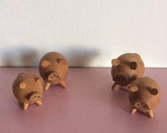 Pair of Wooden Pigs Salt and Pepper Shakers