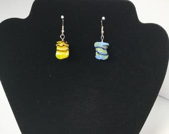 Yellow and Blue Glass Bead Earrings