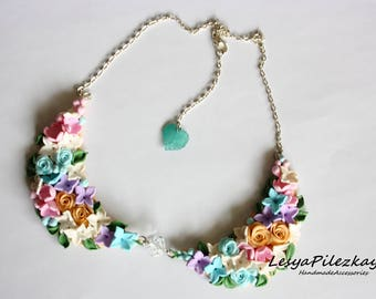 Flower necklace of polymer clay - spring jewelry