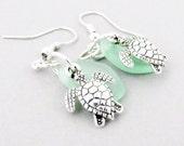 Sea Turtle Earrings, Sea Glass Earrings, Dainty Earrings, Dangle Earrings, Beach Earrings, Gift for Her, Valentine Day Gift, Girlfriend Gift