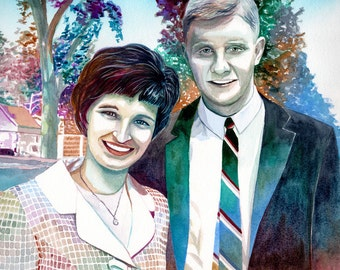 50th WEDDING ANNIVERSARY of GRANDPARENTS and parents - Custom portrait painting special gift