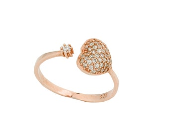Rose Gold Heart Ring • Rose Gold Ring • Adjustable Ring •  Cubic Zirconia Ring • Valentines Gift •  Heart Ring  | 0034RM