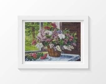 Cross Stitch Kit Lilacs by the Window by Pyotr Konchalovsky, Floral Cross Stitch, Embroidery Kit, Needlework DIY Kit (PYOTR01)