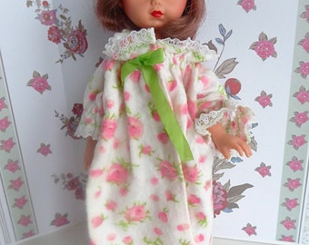 SMALL DOLL NIGHTGOWN in brushed cotton for all 8 inch dolls like Bjds, Ginny, Ginger, Kripplebush Kids, Middle Blythe, Riley Kish