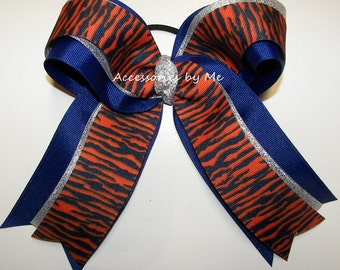 Tigers Cheer Bow, Orange Blue Ponytail Holder, Tiger Football Cheerleader Bows, Tigers School Spirit Softball Soccer Volleyball Cheap Bows