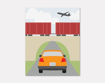 Transportation Art Print, Planes Trains and Automobiles Artwork, Vehicle Nursery Decor, Car and Airplane Art