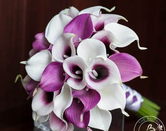 Purple calla lily bouquet, bridal wedding bouquet, real touch calla lily bouquet, picasso calla lilies, wedding bouquets, fake flowers