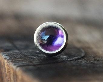 3mm Amethyst Tragus Earring   Cartilage Earring   Gemstone Tragus Stud   Labret Jewelry   Gemstone Piercing   Conch Piercing   Tragus Jewel