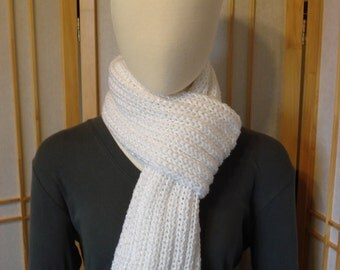 White Ribbed Sparkle Scarf