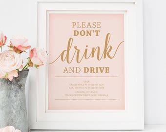 Printable Wedding Bar Sign // Don't Drink and Drive Sign Printable // Blush Pink Wedding Decor, Instant Download