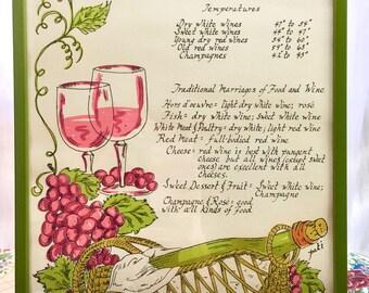 Vintage Art Wine List. Boho Kitchen Decor. Dining Room 1970s. Grapes, 70s Graphics.