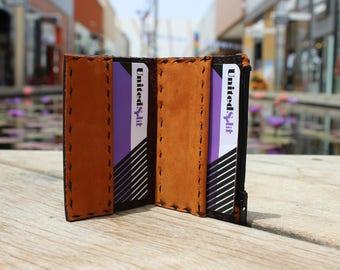 Men wallet Small Bifold Credit card Zipper coins Original Genuine leather High quality Handmade 1815