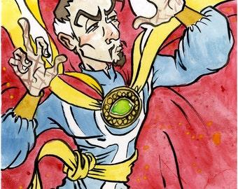 Doctor Strange, Marvel Comics, Small Ink & Watercolor Original Drawing