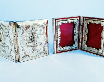 Silver Hinged Picture Frame Pair Vintage Embossed Velvet Lined - EXQUISITE!