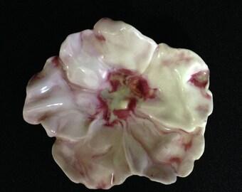 Vintage Handmade Porcelain Floral Ring Holder/Trinket Dish   (LDT5)