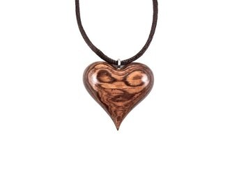 Wooden Heart Necklace, Wood Heart Pendant, Heart Necklace, Heart Jewelry, 5th Anniversary Gift for Her, Valentine Day Hand Carved Pendant