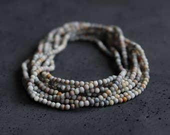 Earthy Jasper Wrap Bracelet, Long Beaded Necklace, Boho Chic Jewelry