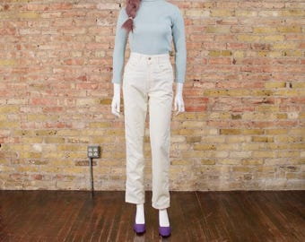 my gal pal 90s SWISS DOT straight leg pants / high waisted pants / high rise trousers / cotton pants / pastel yellow / mom jeans / 90s jeans