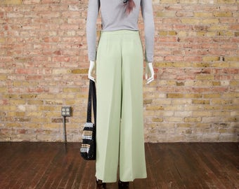 granny smith lime green trousers / pleated pants / wide leg pants / slouchy / 90s minimalist / high waist trousers / pleated trousers