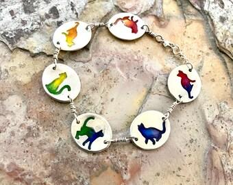 Rainbow Cat Bracelet Sterling Silver