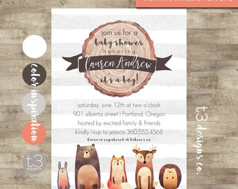 Woodland Baby Shower Invitation Printable, Instant Download. DIY PDF, woodland baby shower, forest animals, fall baby shower, baby boy, T2