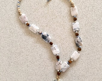 EARTHLY DELIGHT Grey Lace Agate 51cm long crystal necklace