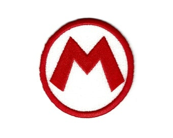 """Super Mario Bros. """"Mario Hat M"""" Inspired - Embroidered Iron-on Patch"""