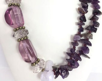 Statement Necklace Amethyst Chunky Necklace Bridal Wedding Purple Necklace
