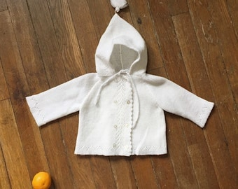 Vintage Baby Pixie Sweater / 1960s Knit Soft Acrylic Cardigan with Pixie Hat and Pom Detail - Approx 6 months
