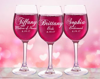 Bridesmaid Gift, 2 Personalized Wine Glasses, Custom Engraved, Toasting Glass, Wedding Party Favors, Gifts for Mothers, 11oz Glasses, Bridal
