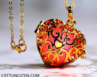 Love You Red - Glowing Heart  in 18K GOLD GP - Gold gp  Link Chain, Glow Pendant, Glow in the Dark, Glow Jewelry
