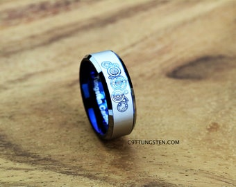 top quality tungsten ring 8mm doctor who time lord design beveled ring with blue interior - Dr Who Wedding Ring