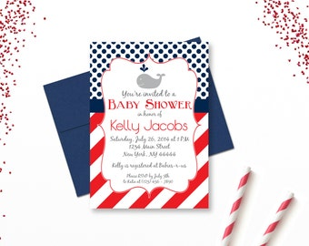 Red and Navy Whale Baby Shower Invitation, Stripes and Polkadots, Boy Whale Shower, Whale Invite, Printable PDF, Digital Invitation
