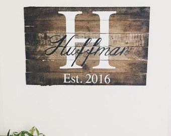 Family Initial and Last Name Pallet Wood Monogramed Large Sign - Personalized Wedding Gift