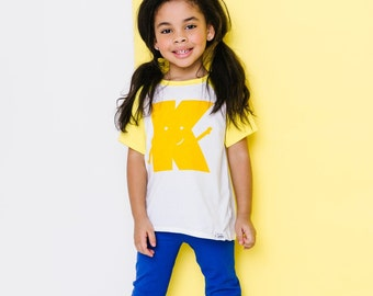 Classic Collection Yellow Alphabet Raglan | CHOOSE Your Letter A-Z