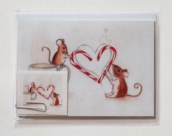 Christmas Mouse Stationery Set: Cute Mice Notecards and Stickers